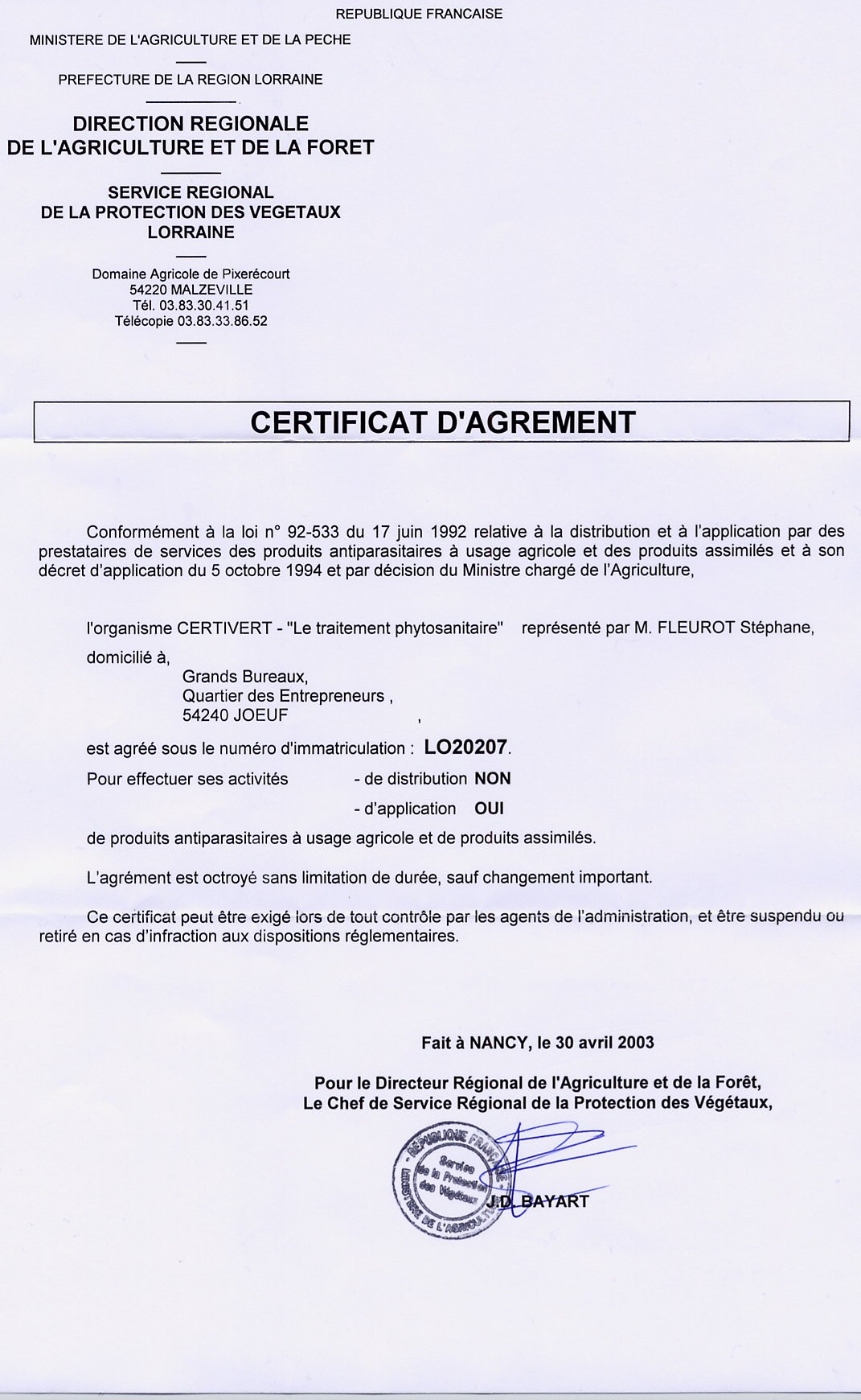 agrement certivert